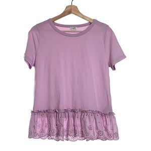J.Crew Lilac Purple Peplum Eyelet T-Shirt Top S